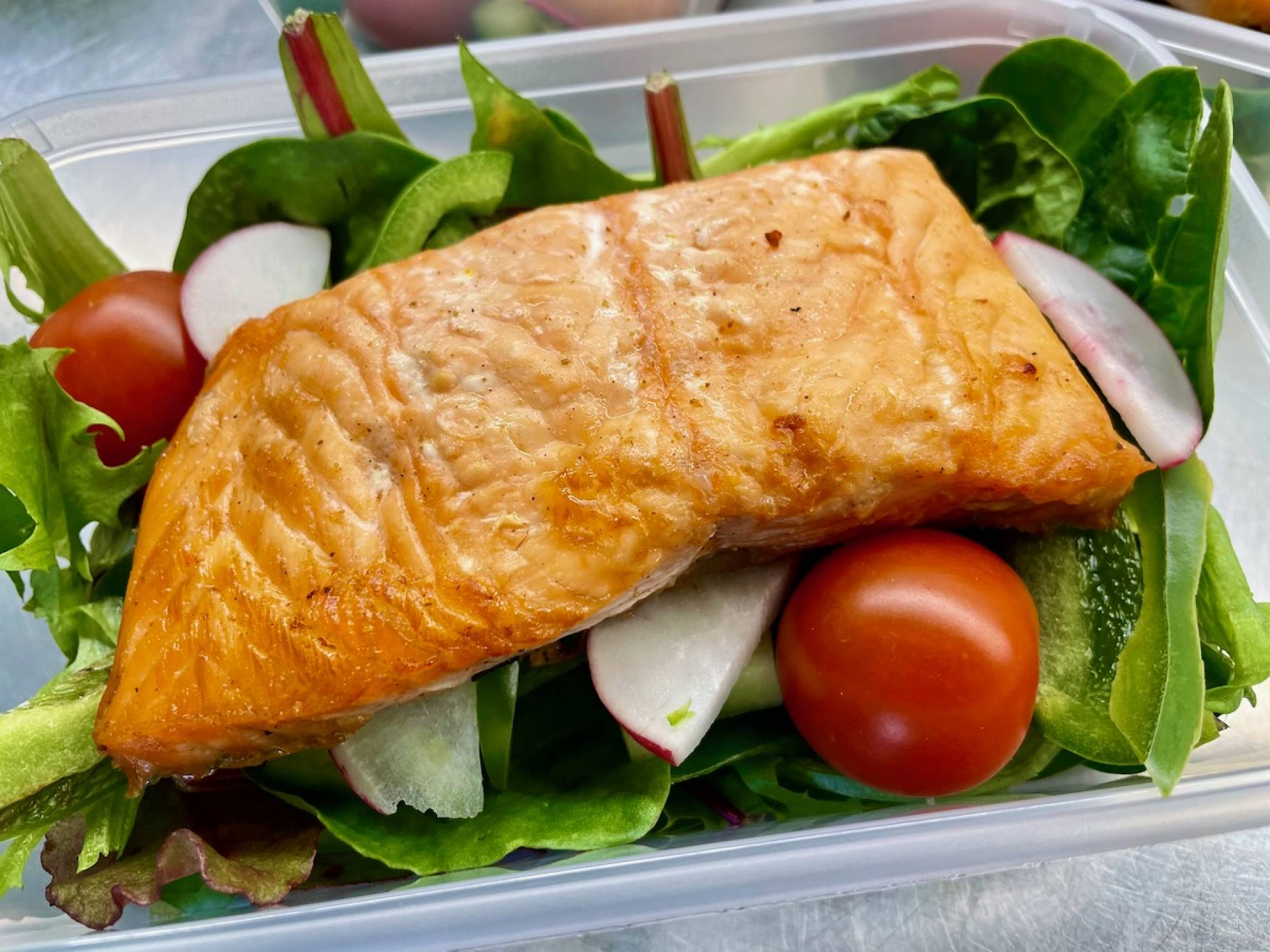 Oven Baked Salmon with Salad