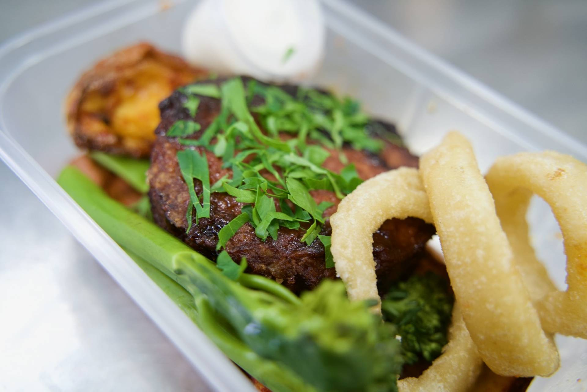 Soy Burger with Wedges & Tenderstem